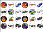 24 X Hot Wheels Cars Rice wafer Cake Toppers - 1.6''
